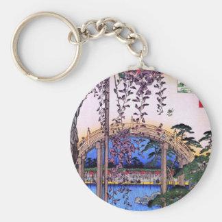 藤と太鼓橋, 広重 Wisteria and Arched Bridge, Hiroshige Basic Round Button Keychain