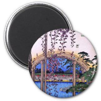 藤と太鼓橋, glicinias y puente arqueado, Hiroshige del  Imán De Frigorifico