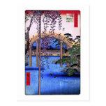 藤と太鼓橋, glicinias y puente arqueado, Hiroshige del  Postal