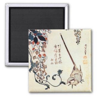 藤にセキレイ, 北斎 Wagtail and Wisteria, Hokusai, Ukiyo-e Magnet