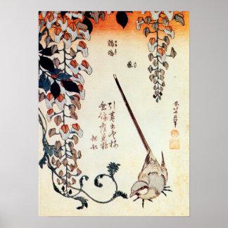 藤にセキレイ, 北斎 Wagtail and Wisteria, Hokusai, Ukiyo-e Poster