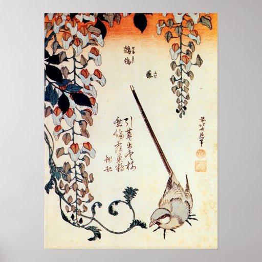 藤にセキレイ, 北斎 Wagtail and Wisteria, Hokusai, Ukiyo-e Posters