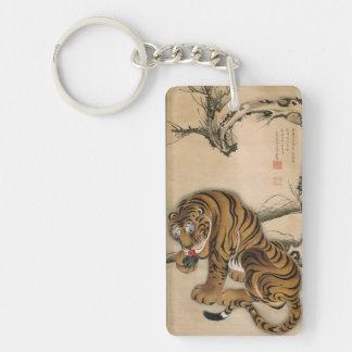 虎図, 若冲 Tiger, Jakuchū, Japan Art Double-Sided Rectangular Acrylic Keychain