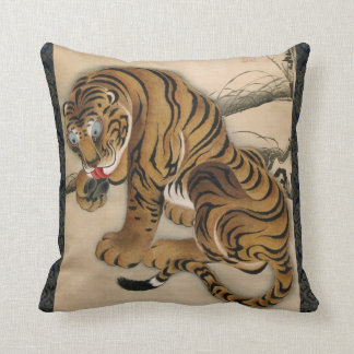 虎図, 若冲 Tiger, Jakuchū, Japan Art Throw Pillow