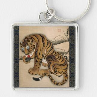 虎図, 若冲 Tiger, Jakuchu Silver-Colored Square Keychain