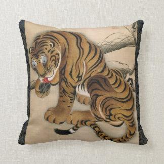 虎図, tigre del 若冲, Jakuchū, arte de Japón Cojín