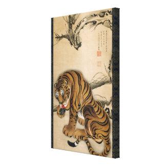 虎図, tigre del 若冲, Jakuchu, arte de Japón Impresión En Lienzo Estirada
