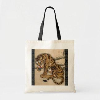 虎図, tigre del 若冲, Jakuchu Bolsas Lienzo