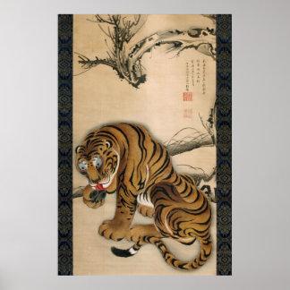 虎図, tigre del 若冲, Jakuchu Póster