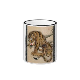 虎図, tigre del 若冲, Jakuchu Taza A Dos Colores
