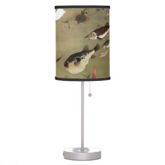 諸魚図,群魚図, 若冲 Various Fishes, Jakuchū, Japan Art Desk Lamp