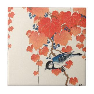 赤い蔦に鳥, 古邨 Bird on Red Ivy, Koson, Ukiyo-e Small Square Tile