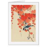 赤い蔦に鳥, pájaro del 古邨 en la hiedra roja, Koson, Uki Tarjetas