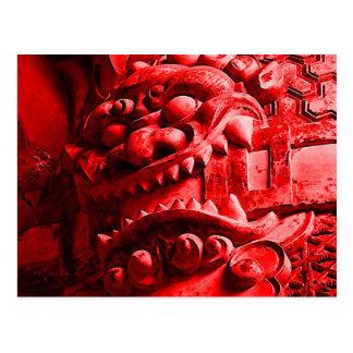 赤鬼 de la máscara de Oni del samurai Tarjetas Postales
