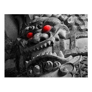 赤鬼 de la máscara de Oni del samurai Tarjeta Postal