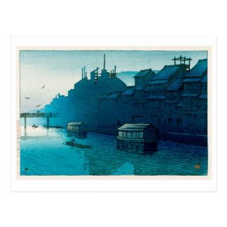 道頓堀の朝, Morning at Dôtonbori, Hasui Kawase, Woodcut Postcard