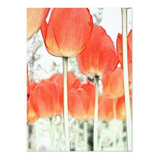 郁 金 香. Artistic style red tulip flower. Invites