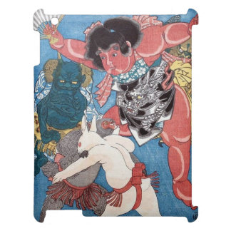 金太郎と動物,国芳 Kintaro & Animals, Kuniyoshi, Ukiyo-e Case For The iPad