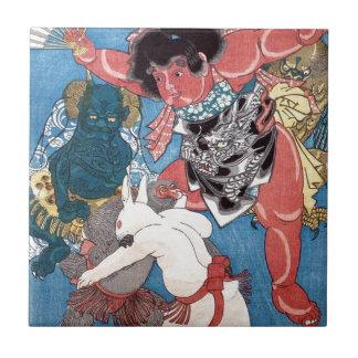 金太郎と動物,国芳 Kintaro & Animals, Kuniyoshi, Ukiyo-e Ceramic Tile