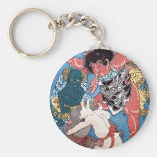 金太郎と動物,国芳 Kintaro & Animals, Kuniyoshi, Ukiyo-e Keychain