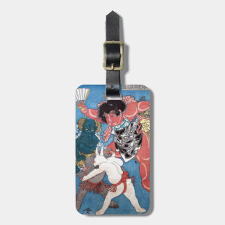 金太郎と動物,国芳 Kintaro & Animals, Kuniyoshi, Ukiyo-e Luggage Tag