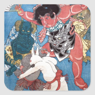 金太郎と動物,国芳 Kintaro & Animals, Kuniyoshi, Ukiyo-e Square Sticker