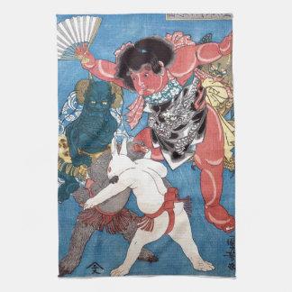 金太郎と動物,国芳 Kintaro & Animals, Kuniyoshi, Ukiyo-e Towel