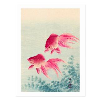 金魚, 古邨 Pair of Goldfish, Koson, Ukiyo-e, Woodcut Postcard