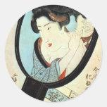 鏡の中の女, 国貞 Woman in the Mirror, Kunisada Sticker