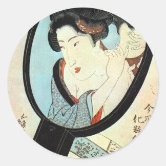 鏡の中の女, mujer en el espejo, Kunisada del 国貞 Pegatina Redonda