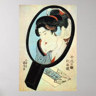 鏡の中の女, mujer en el espejo, Kunisada del 国貞 Póster