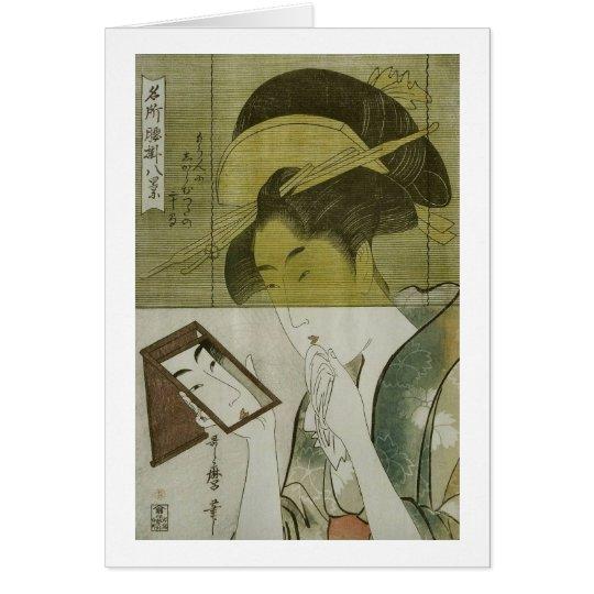 鏡を見る女, 歌麿 Woman who Sees mirror, Utamaro, Ukiyoe Card