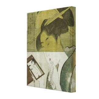 鏡を見る女, mujer que ve el espejo, Utamaro, Ukiyoe del Impresión En Lienzo Estirada
