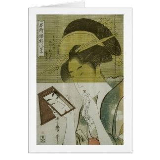 鏡を見る女, mujer que ve el espejo, Utamaro, Ukiyoe del Tarjeta De Felicitación