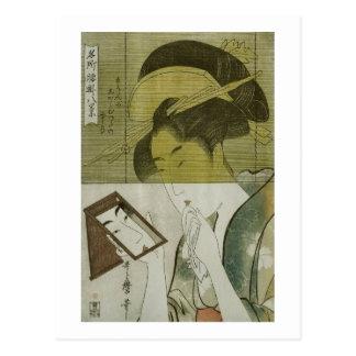 鏡を見る女, mujer que ve el espejo, Utamaro, Ukiyoe del Postal
