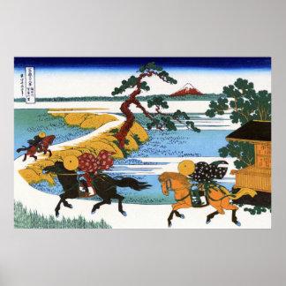 隅田川関屋の里, opinión el monte Fuji del 北斎 del río de S Poster