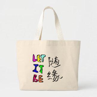 随缘 let it be large tote bag