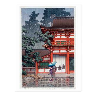 雨の春日大社, 川瀬巴水 Kasuga Shrine in Nara, Hasui Kawase Postcard