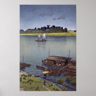 雨の荒川, 川瀬巴水 Summer Rain, Arakawa, Hasui Kawase Poster
