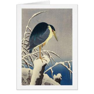 雪に青サギ, 小原古邨 Blue heron in the Snow, Ohara Koson Card