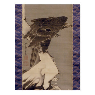 雪の中の鷲, 若冲 Eaglein TheSnow, Jakuchu Postcard