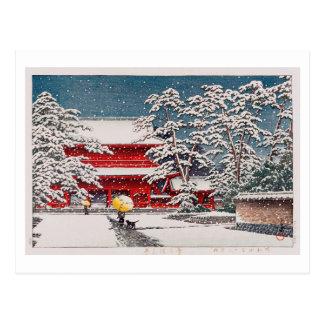 雪の増上寺, Zôjô-ji Temple in the Snow, Hasui Kawase Postcard