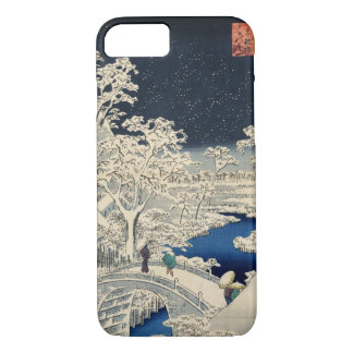 雪の太鼓橋, 広重 Snowy Drum bridge, Hiroshige, Ukiyo-e iPhone 7 Case