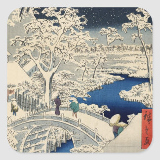 雪の太鼓橋, 広重 Snowy Drum bridge, Hiroshige, Ukiyo-e Square Sticker