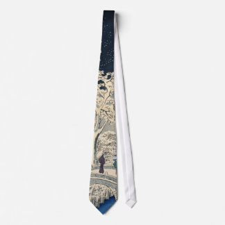 雪の太鼓橋, 広重 Snowy Drum bridge, Hiroshige, Ukiyo-e Tie