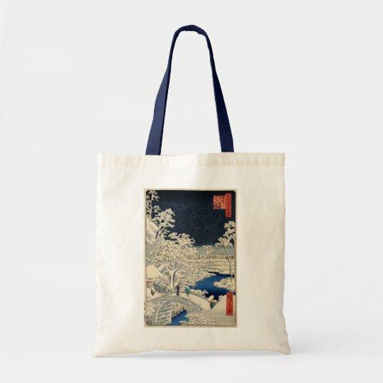 雪の太鼓橋, 広重 Snowy Drum bridge, Hiroshige, Ukiyo-e Tote Bag