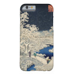 雪の太鼓橋, puente del tambor Nevado del 広重, Hiroshige, Funda Para iPhone 6 Barely There