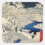 雪の太鼓橋, puente del tambor Nevado del 広重, Hiroshige, Pegatina Cuadrada