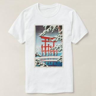 雪の宮島, Miyajima in Snow, Hasui Kawase, Woodcut T-Shirt