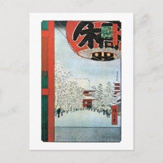 雪の浅草、Asakusa、Hiroshige Ukiyoeの広重の雪 postcard
